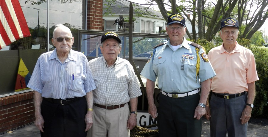 Left to right, Marshall Golliday, John Neggia, Louis Lepore and Doug Butler are among World War II veterans marking the 70th anniversary of the surrender of Germany and Japan this year.    Joe Beck/Daily